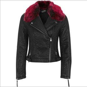 Topshop Black Faux Fur Trim Leather Moto Jacket